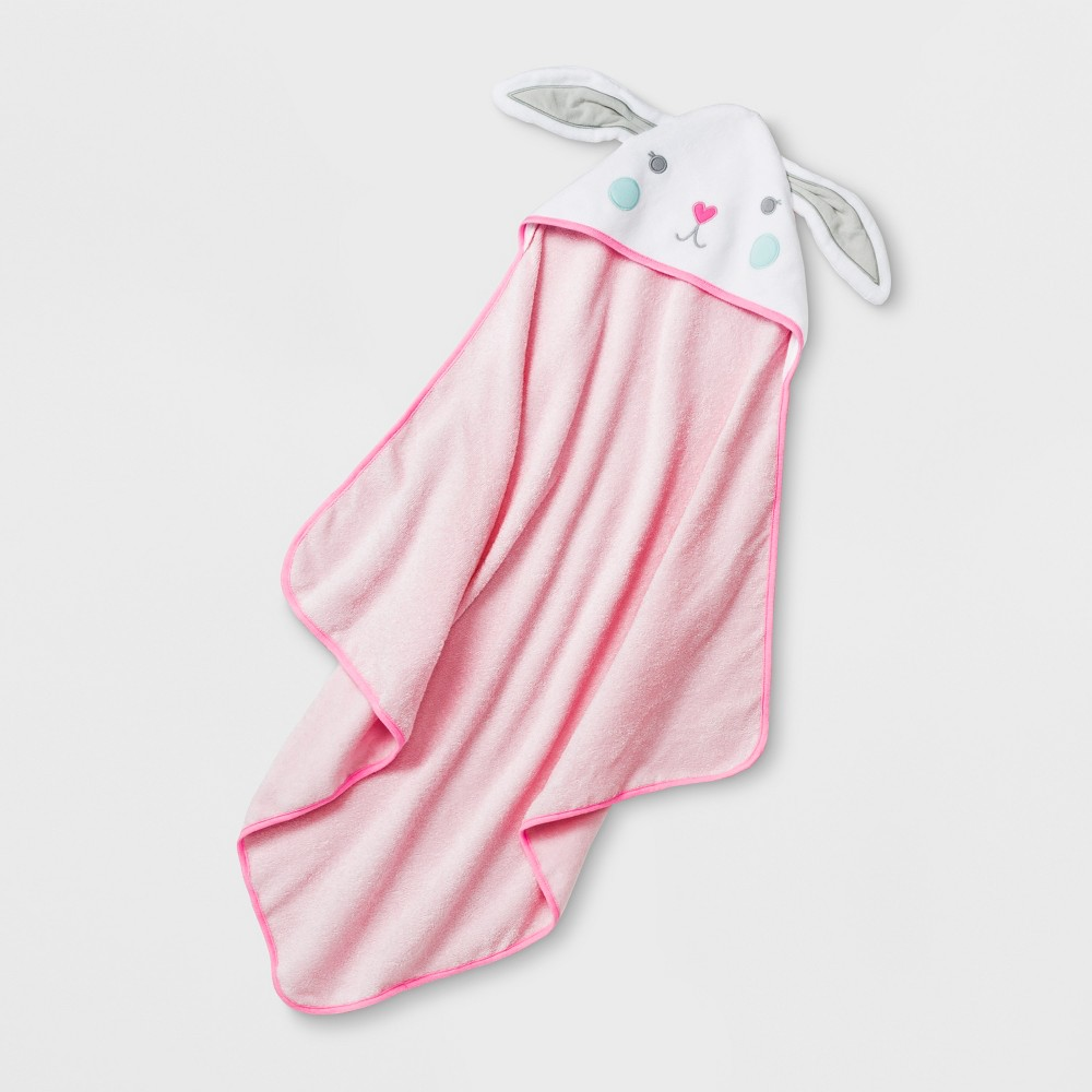 Image of Baby Girls' Hooded Bath Towel - Cloud Island Pink One Size