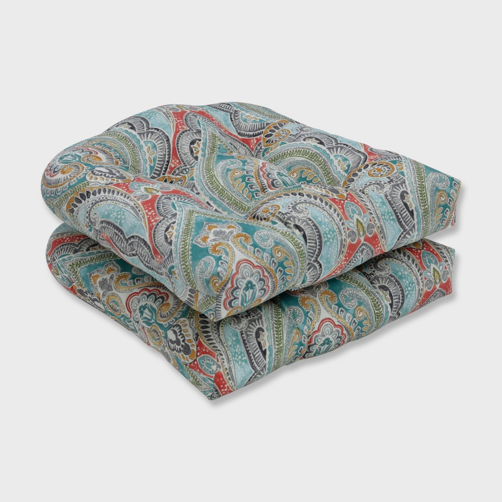 2pk Pretty Witty Reef Wicker Outdoor Seat Cushion Blue Pillow Perfect