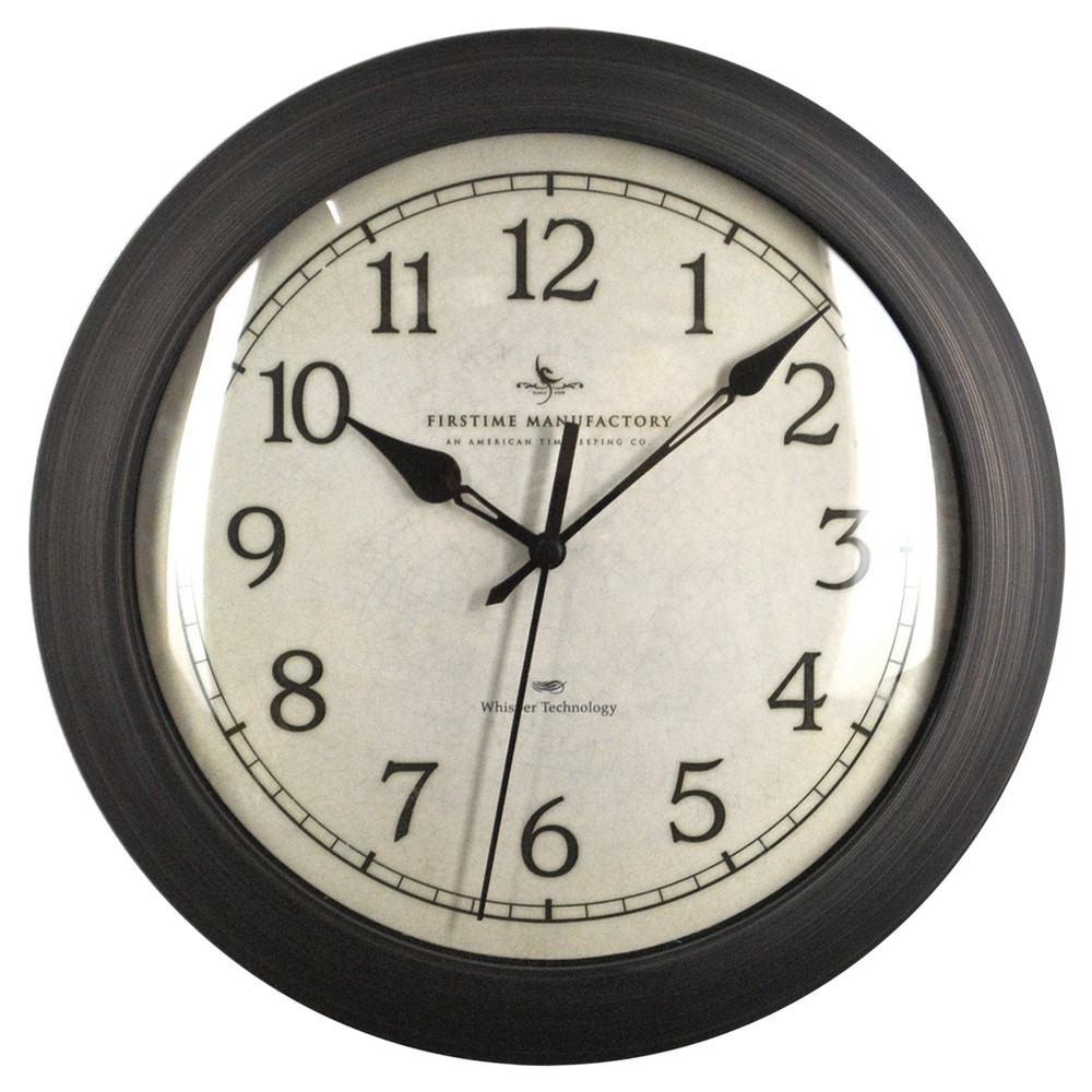 Image of 11 Slim Round Wall Clock Oil Rubbed Bronze - FirsTime