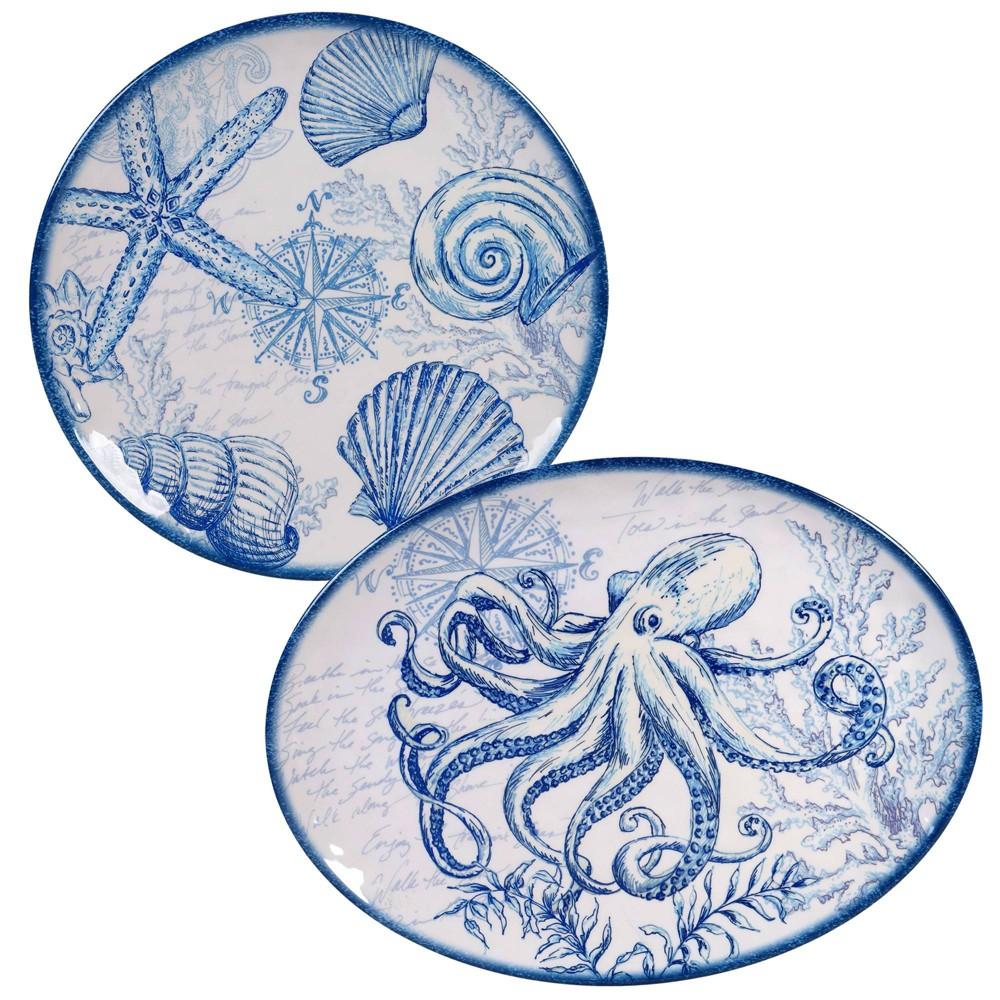 Image of 2pc Melamine Oceanic Serving Platter Set Blue - Certified International