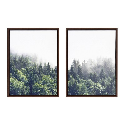 """18"""" x 24"""" 2pc Sylvie Lush Green Forest on a Foggy Day Framed Canvases by the Creative Bunch Studio Brown - Kate & Laurel All Things Decor"""