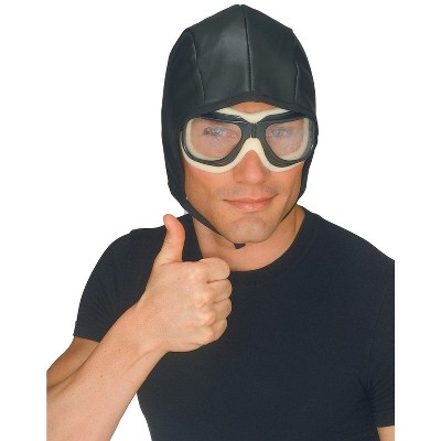 Rubies Black Aviator Helmet and Goggles for Adults