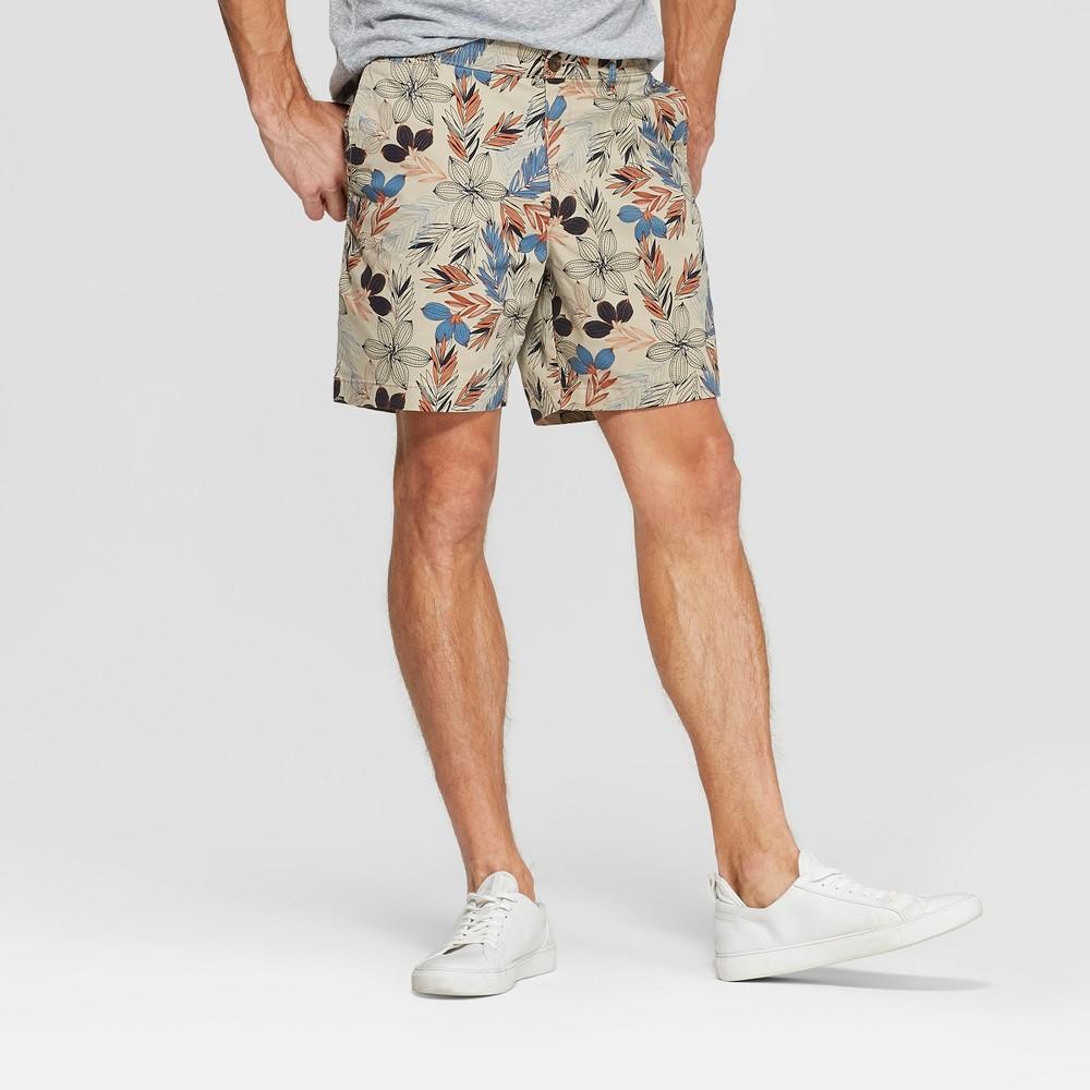 Men's 7 Slim Fit Chino Shorts - Goodfellow & Co Beige 30, Orange