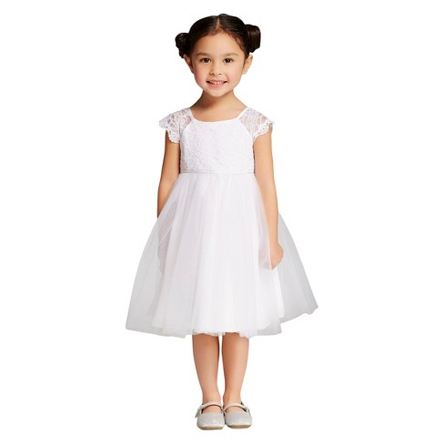 Toddler Girls Lace And Tulle Flower Girl Dress Tevolio White