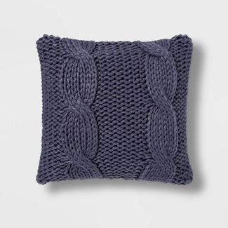 Chunky Cable Knit Square Throw Pillow Blue - Threshold™