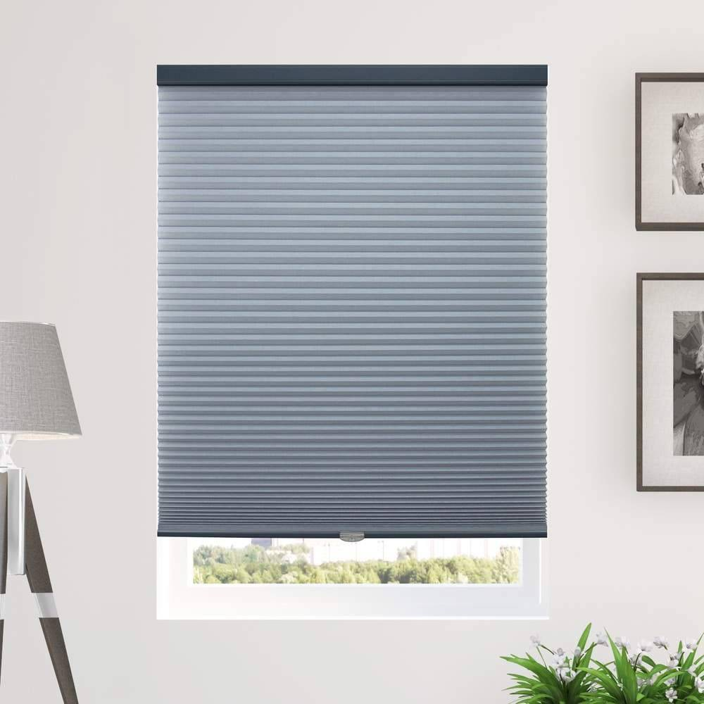 "Image of ""30""""x48"""" Cordless Light Filtering Cellular Window Shade Dark Blue - Chicology"""