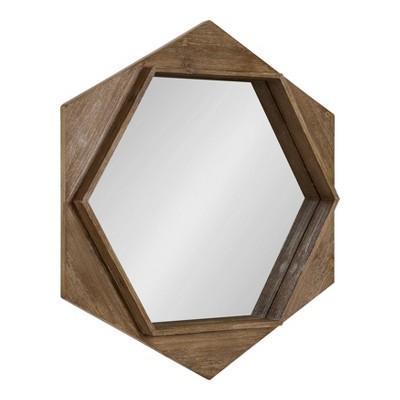 "30"" Yandel Hexagon Wooden Wall Mirror Brown - Kate and Laurel"