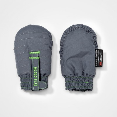 Baby Girls' Igloos Quilted Ski Mitten - Gray 12-24M