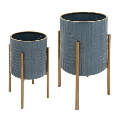 Set of 2 Planter on Metal Stand Turquoise/Gold - Sagebrook Home