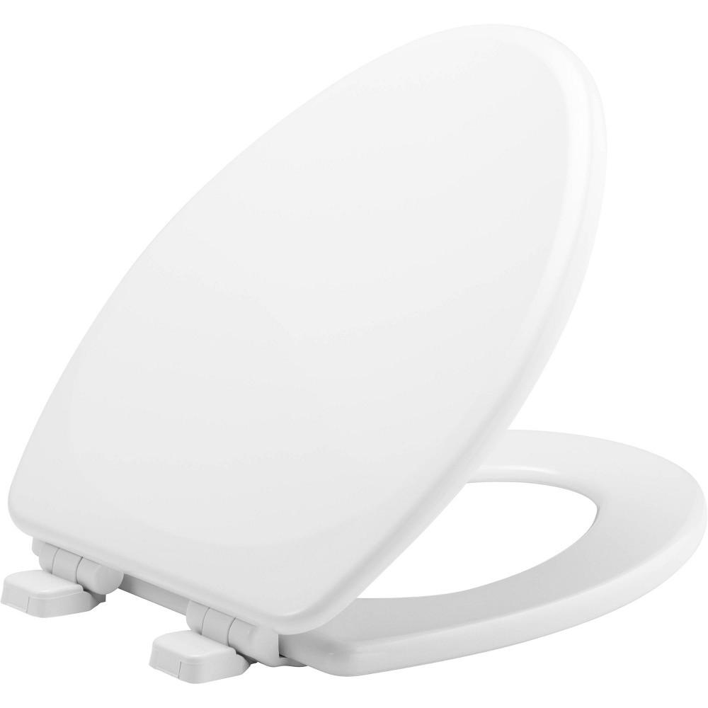 Image of Elongated Enameled Wood Toilet Seat White - Mayfair
