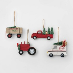 4ct Wood Farm Vehicles Christmas Ornament Set - Wondershop™