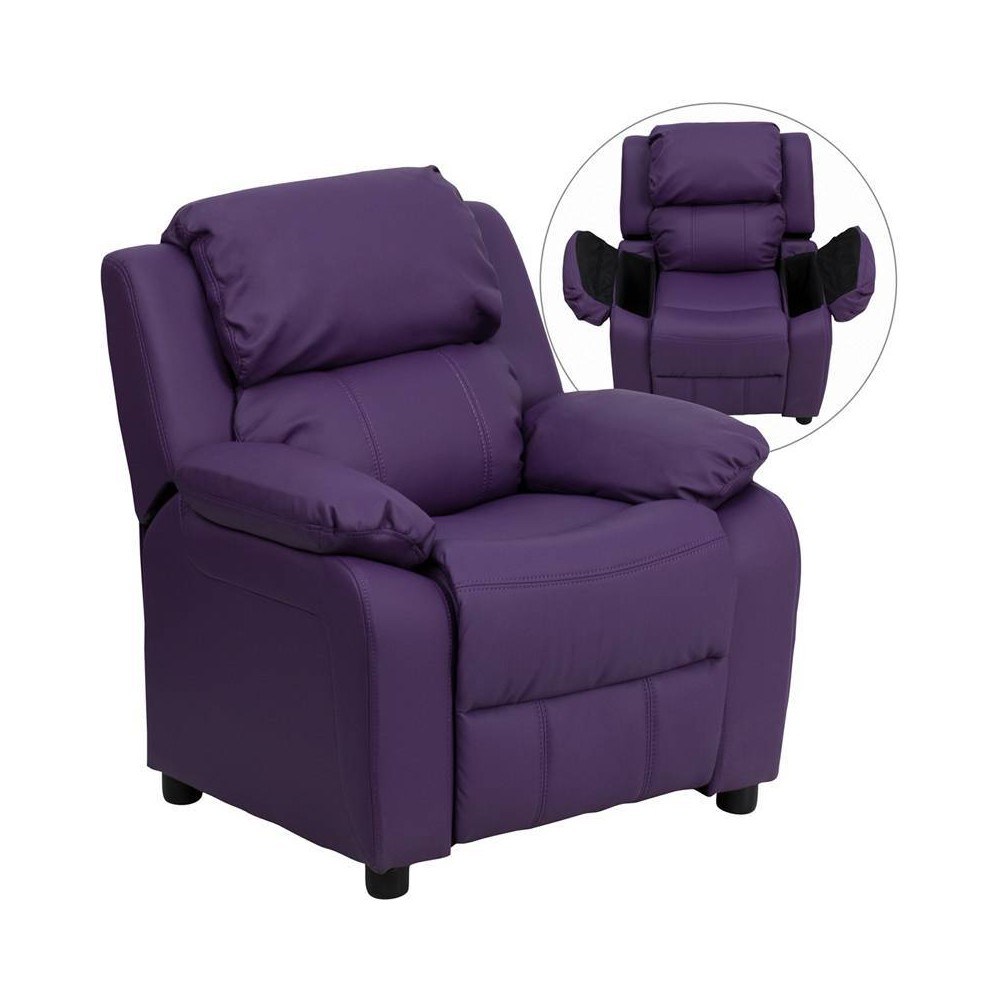 Deluxe Padded Contemporary Kids Recliner with Storage Arms Vinyl Purple - Riverstone Furniture