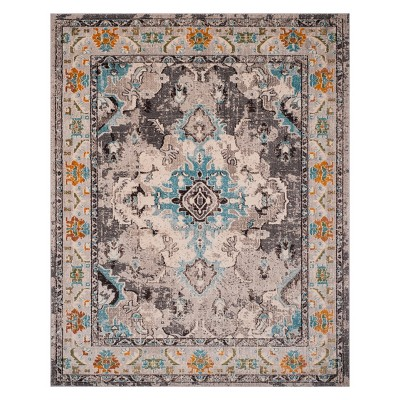 8'X10' Medallion Area Rug Gray/Light Blue - Safavieh