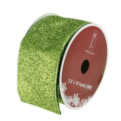 """Northlight Shimmering Lime Green Solid Wired Christmas Craft Ribbon - 2.5"""" x 10 Yards"""