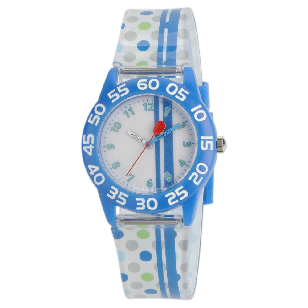 Boys' Red Balloon Blue Plastic Time Teacher Watch - White
