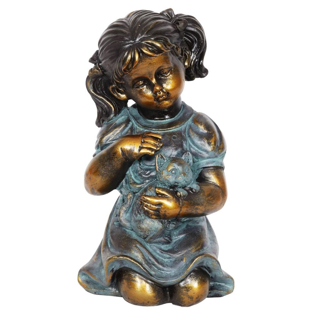 10 24 34 Resin Girl And Kitten Statue Bronze Exhart