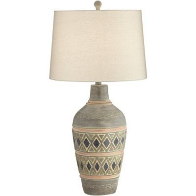 John Timberland Rustic Table Lamp Southwest Style Pattern Oatmeal Fabric Drum Shade for Living Room Bedroom Bedside Office Family