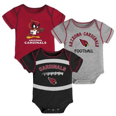 NFL Arizona Cardinals Baby Boys' Newest Fan 3pk Bodysuit Set