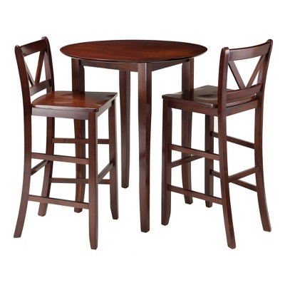 3 Piece Fiona Set High Round Table With V Back Bar Stools Wood/Walnut    Winsome