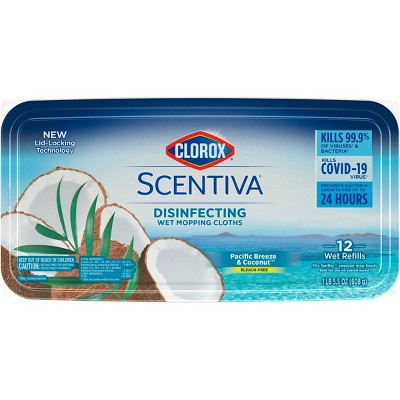 Clorox Scentiva Disinfecting Wet Mopping Cloths -  Pacific Breeze & Coconut - 12ct