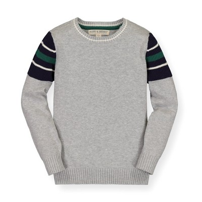 Hope & Henry Boys' Crewneck Sweater With Navy Inset Sleeve, Kids