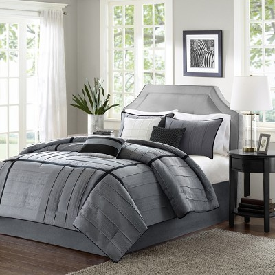 7pc King Northridge Herringbone Microfiber Comforter Set Gray