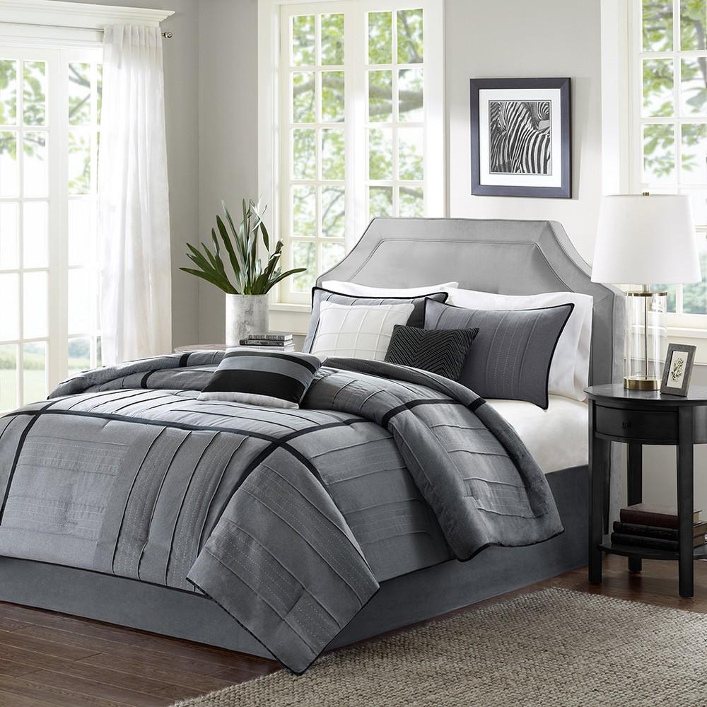 7pc King Northridge Herringbone Comforter Set Gray