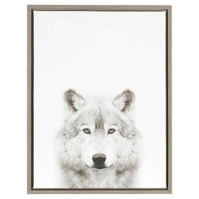 Wolf Framed Canvas Art Gray (24 x18 )- Uniek