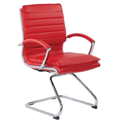 Guest Faux Leather Chair With Chrome Base - OSP Designs