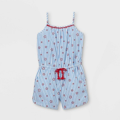 Girls' Americana Woven Sleeveless Romper - Cat & Jack™ Light Blue M
