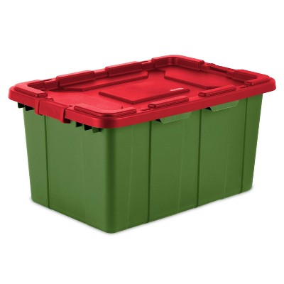 Sterilite 27gal Industrial Latching Tote Green with Red Latch