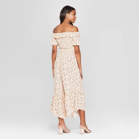9d515fedac7 Women's Floral Print Short Sleeve Off The Shoulder Smocked Top Jumpsuit -  Xhilaration™ Cream : Target