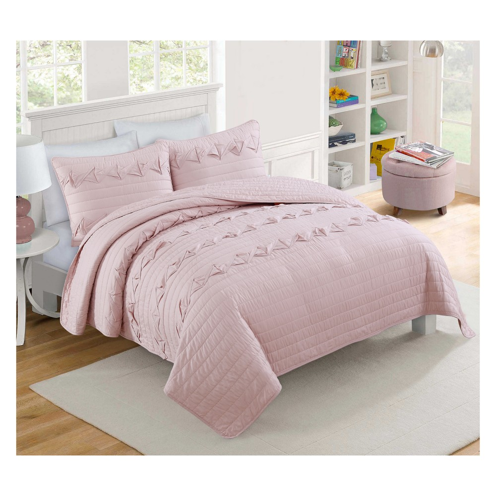 Penelope Pink Quilt (King) - 3pc - Vcny Home