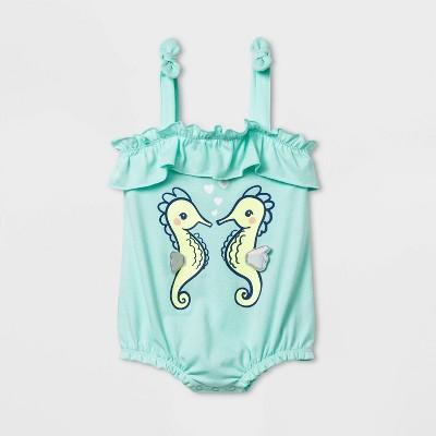 Baby Girls' Seahorse Romper - Cat & Jack™ Aqua 12M