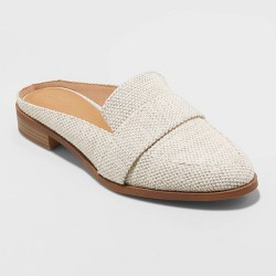 Women's Amber Woven Total Backless Loafer Mules - Universal Thread™ Cream