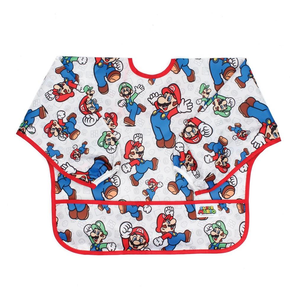 Bumkins Nintendo Sleeved Bib - Mario and Luigi, Multi-Colored
