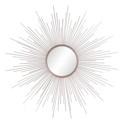 "36""x36"" Rays Sunburst Metal Framed Decorative Wall Mirror Champagne - Patton Wall Decor"
