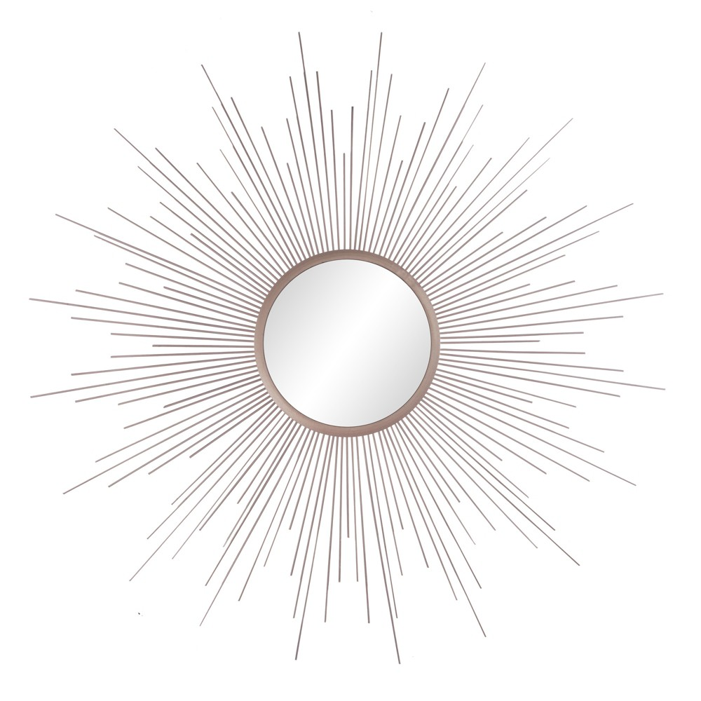 "Image of ""36""""x36"""" Rays Sunburst Metal Framed Decorative Wall Mirror Champagne (Beige) - Patton Wall Decor"""