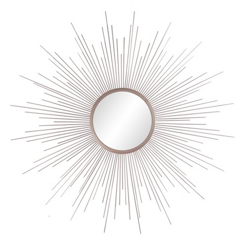 "36""x36"" Rays Sunburst Metal Framed Decorative Wall Mirror Champagne - Patton Wall Decor - image 1 of 5"