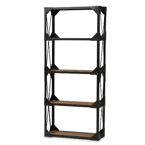 71 Hudson Rustic Style Antique Textured Finished Metal And Distressed Wood Tall Shelving Unit Brown Black Baxton Studio