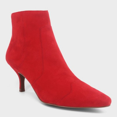 Women's Delilah Heeled Ankle Fashion Boots - Who What Wear™ Red 7