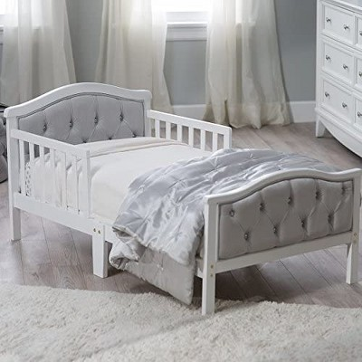 Orbelle Luxurious Solid Wood Toddler Bed with Padded and Upholstered Head and Footboard Upholstery and Decorative Crystal Tufting - 417