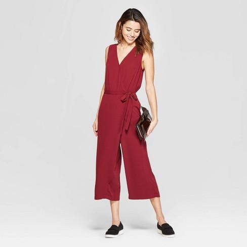 3d952061396 Women s Sleeveless V-Neck Jumpsuit - A New Day™ Burgundy   Target