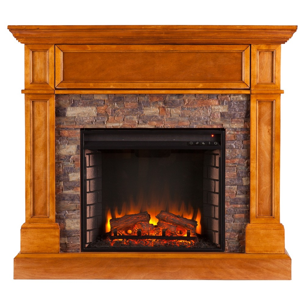 Roseshire Stone Look Convertible Electric Media Fireplace - Sienna - Aiden Lane