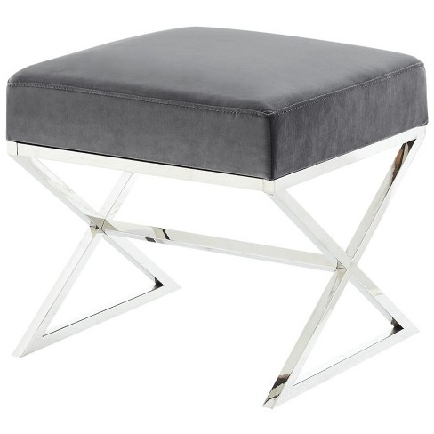 Admirable Colin Grey Velvet Upholstered Ottoman Stainless Steel Chrome Legs In Gray Posh Living Gmtry Best Dining Table And Chair Ideas Images Gmtryco