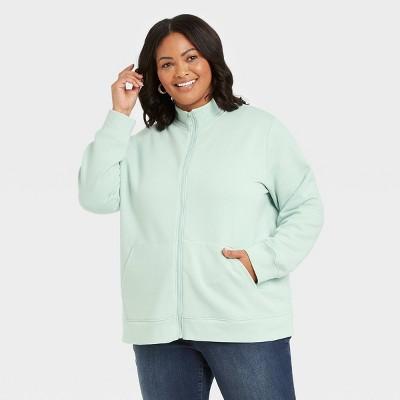 Women's Plus Size Zip Mock Neck Leisure Sweatshirt - Ava & Viv™