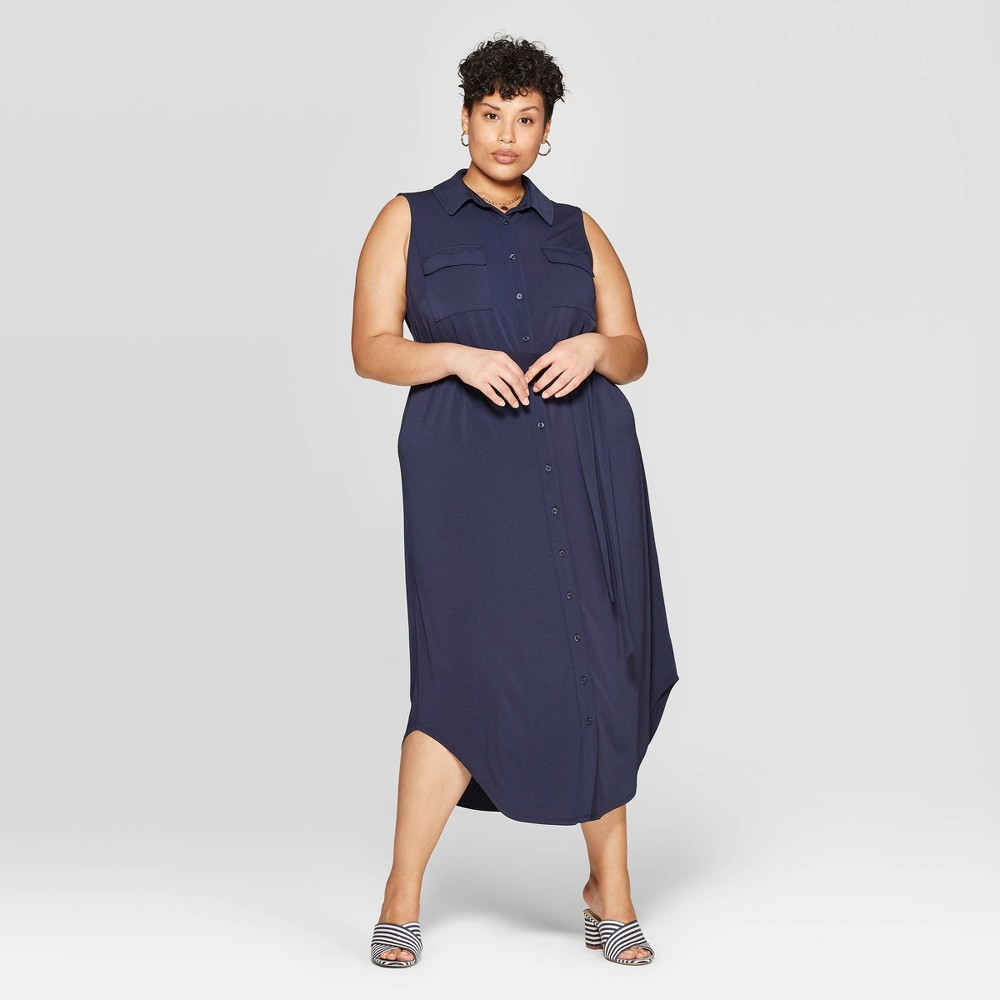 18a268846eb517 Womens Plus Size Sleeveless Collared Knit Midi Shirtdress Ava Viv Navy Blue  1X