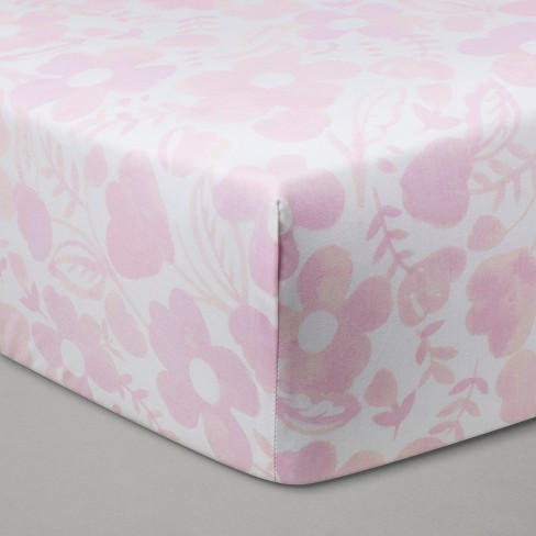 Fitted Crib Sheet Watercolor Floral - Cloud Island™ Pink - image 1 of 2