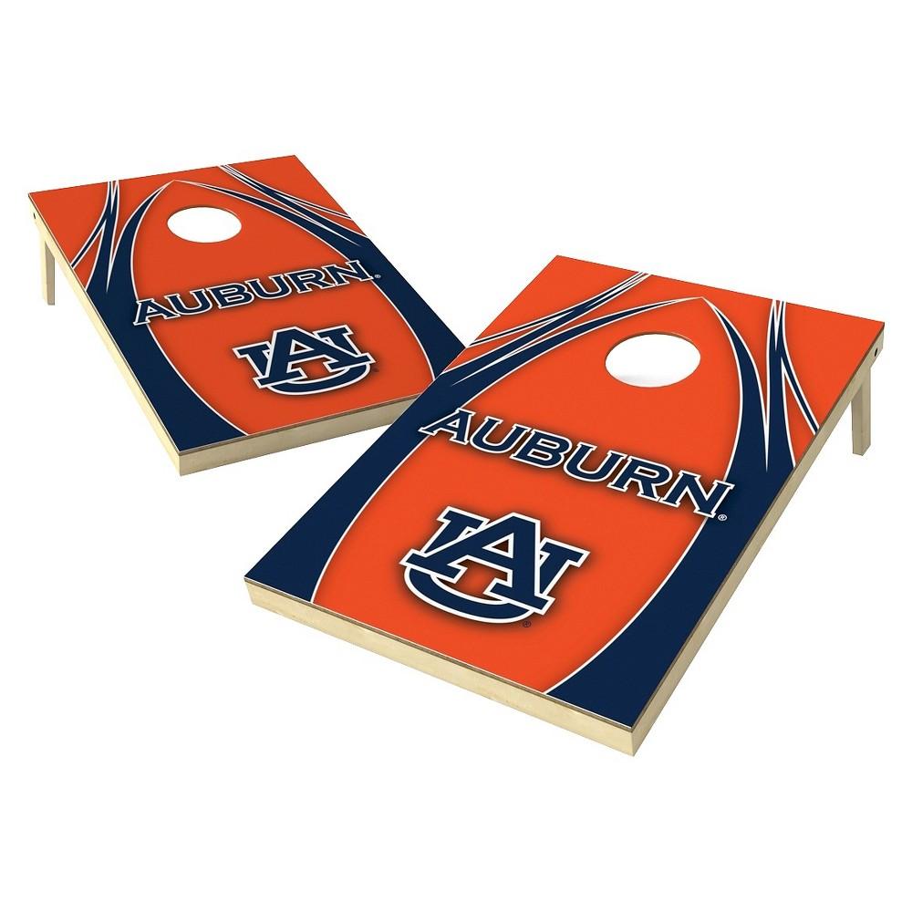 Auburn Tigers Wild Sports 2' x 3' V Logo Design Tailgate Toss Platinum Cornhole Set