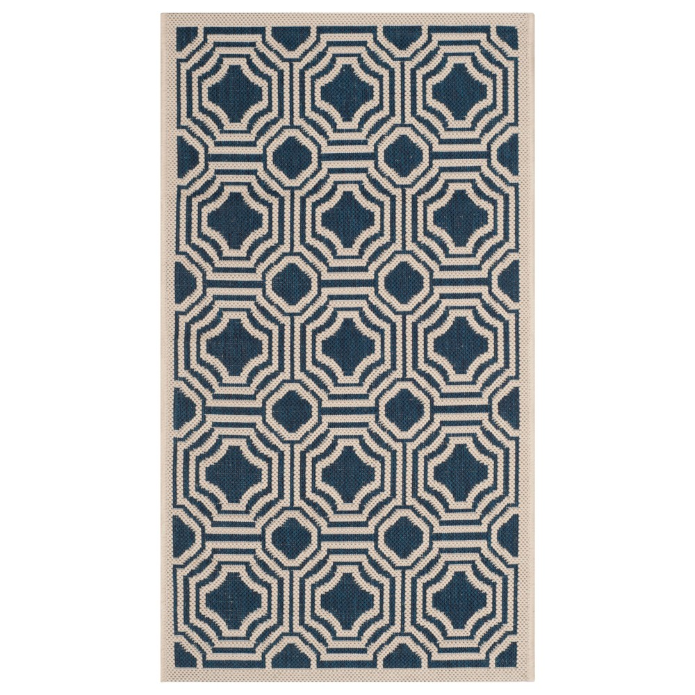 Hamina 2' x 3'7 Outdoor Rug Navy/Beige - Safavieh, Blue